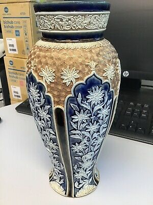 Antique Doulton Lambeth Vase 11 Inches Tall Raised Pattern Does Have Damage • 55£