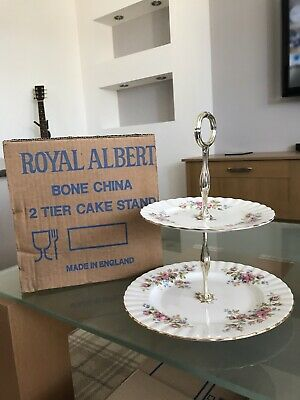 Royal Albert  MOSS ROSE  Two Tier Cake Stand (Diameters Of Plates 6.25  + 8.25 ) • 7£