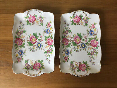 Pair Vintage 1950s Royal Stafford Bone China Dishes - Rochester Flower Design • 6£
