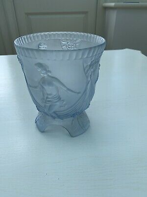 Art Deco Blue Frosted Glass Vase Bowl • 24.99£