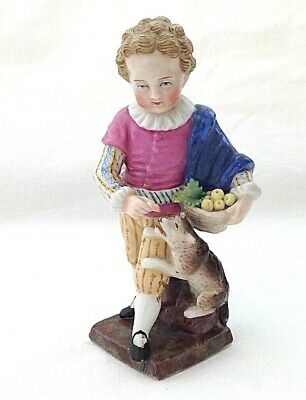 Antique Sitzendorf Figure Boy With Bowl Of Fruit And Dog  • 55£