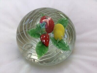 Glass Paperweight. Fruit, White Stripes • 10.60£