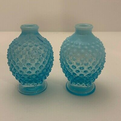 Vintage Fenton Blue Opalescent Hobnail Round Perfume Bottle Pair No Stoppers • 10.38£