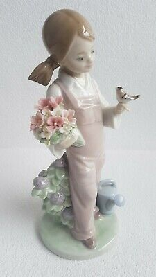 Lladro Figurine 5217 Spring Girl With Flowers Small Bird And Watering Can  • 30£