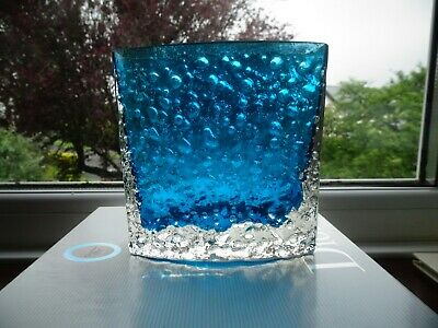 Whitefriars Glass Bow Front Shaped Nailhead Vase  Kingfisher Blue - 9685 Baxter • 70£