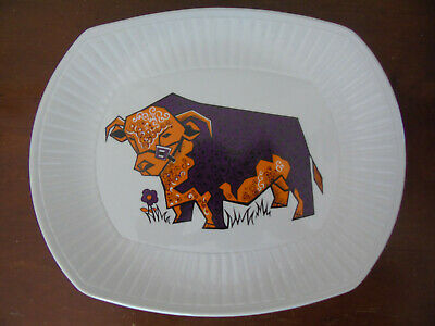 Beefeater Staffordshire English Ironstone - Purple & Orange Bull • 20£