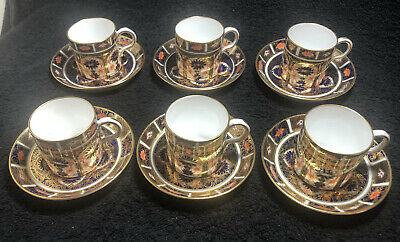 Royal Crown Derby 1128 Imari Pattern Coffee Cans And Saucers 12 Piece Set • 425.95£