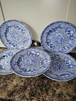 Five OLD BLUE AND WHITE ADAMS Plates ORIENTAL DESIGN Rd No 623294  • 15£