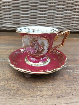 LIMOGES Fragonard Tea Cup & Saucer Red & Gold C 7  • 20£