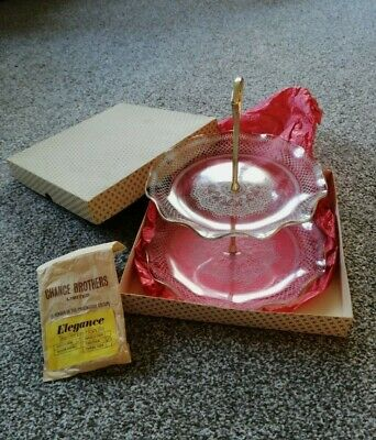 Vintage Chance Glass Double Tier Cake Stand With Handle Boxed • 11.99£