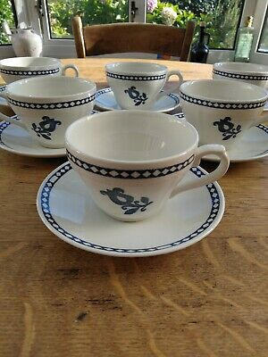 Vintage Churchill Blue & White Cups & Saucers X 6 • 9.50£