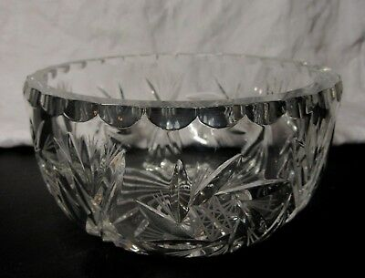 Very Heavy & Thick Glass CUT GLASS CRYSTAL BOWL 7  Across 3½  High - 1.5Kg • 14.99£