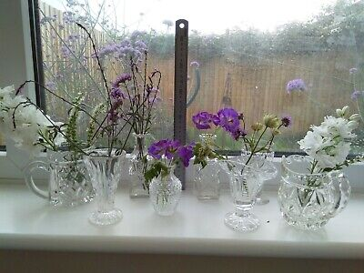 8 X Mix Of Eclectic Small Cut Crystal Glass Flower Vases / Bottles / Milk Jugs • 15.99£
