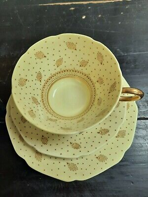 Rare Paragon Peacock Cup Saucer And Side Plate Gold Design Ash • 5£