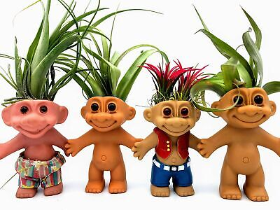 Vintage Troll Dolls With Real Air Plant Hair | Medium Size - Approx.20cm Tall • 16.99£