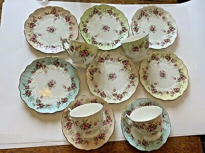 AYNSLEY Grotto Rose Multi Coloured Rim Part Tea Set Cups Saucers Side Plates • 47£
