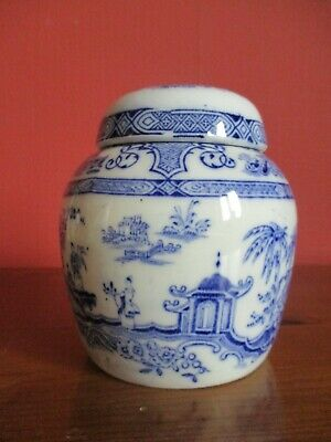 Vintage Blue And White Ginger Jar With Lid And Cork Insert. • 4£