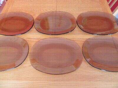 Vintage Retro Glass  Pyrex Oval Brown Amber Dinner Plates X 6 • 12£