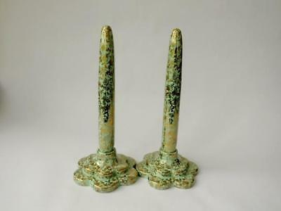 A Pair 1950's Wade Everlasting Candles - Pale Green & Gilt Chintz Porcelain • 24.99£