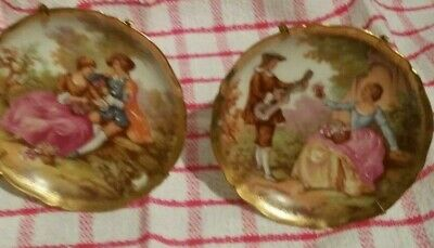 Pair Of LIMOGES Porcelaine D'Art - France  Courting Couple Gold Edged 4   Plates • 9.99£