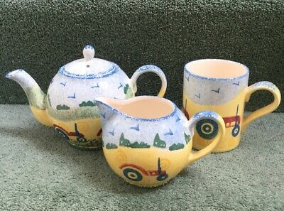 Price Kensington Potteries Tractor Teapot Jug And Mug Unused Blue Green Yellow • 36£