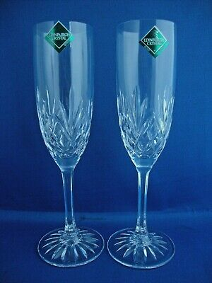 Edinburgh Crystal Tay Cut Pattern Champagne Flutes Unused With Stickers • 39.95£