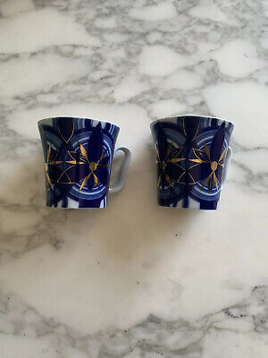 Russian Imperial Porcelain Blue & Gold Mugs X 2 RRP £59.95Each New Other • 45£