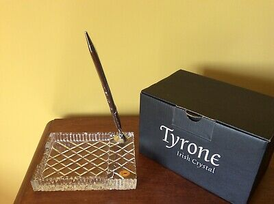 Tyrone Crystal Beautiful  2 Pce Desk Set:  Pen And Memo Holder BNIB • 35£