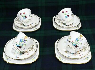 Tuscan China 4 Trios With 1936s Back Stamp Hand Painted Enamel Tulips • 18£