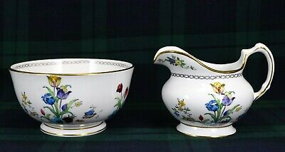 Tuscan China Open Sugar & Cremer 1936s Back Stamp Hand Painted Enamel Tulips • 10£