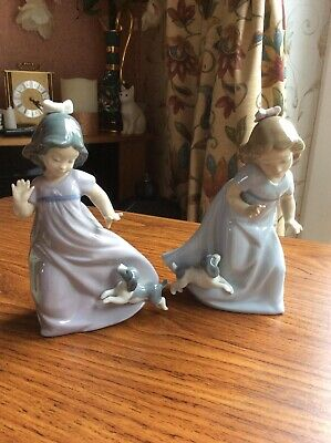 """Nao Two 7"""" Girl Figures Playing With Pups Used Sold For Charity • 5£"""