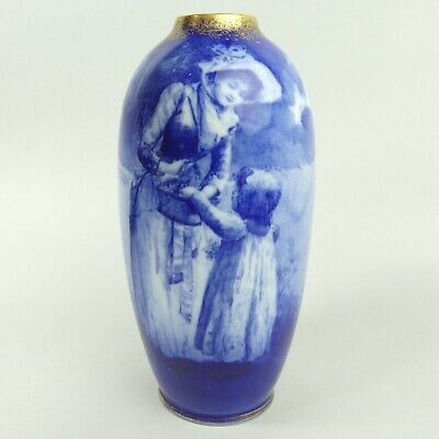 Antique Royal Doulton Blue & White Pottery Children Vase C.1900 • 70£