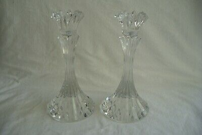 Pair Of Vintage Heavy Glass Candlesticks. 18 Cm Tall. • 9.99£