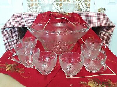 Glass Punch Bowl Set With 10 Glass Cups • 19.50£