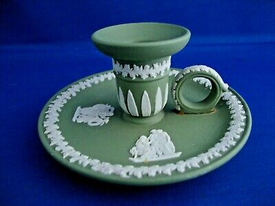 Unusual Wedgwood Green Jasper Ware Chamber Candle Holder Wee Willie Winkie • 39.95£
