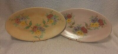 E RADFORD Two Art Deco Oval Flower Plates Floral Dishes In Lovely Condition • 17.29£