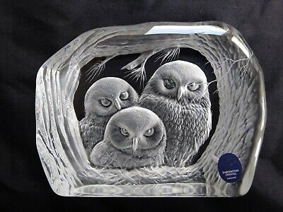 Dartington Capredoni Owls Crystal Paperweight Signed • 14.99£