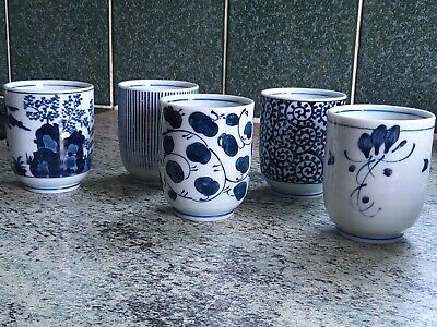 Set 5 Japanese/chinese Oriental Teacups Blue And White • 14.99£