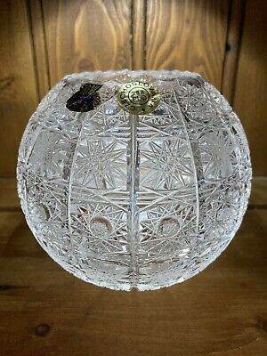 "Bohemian Czech Vintage Crystal 5"" Round Rose Bowl Hand Cut Queen Lace 24% Lead • 11.99£"