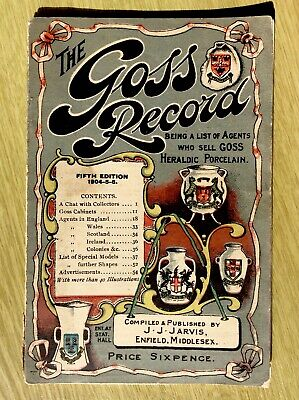 1904 - 1906 The GOSS RECORD 5th Edition Old Paperback Book, Porcelain, J. Jarvis • 14.95£