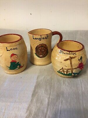 3 X Vintage Old Manor Ware? Pots Longleat Mumbles Looe Holiday Souvenirs Kitsch  • 2.99£