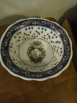 Chinese ? Bowl Pierced Blue And White With Sailing Frigates 22.5cm X 20cm X 7.5 • 25£