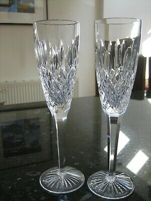 Stuart Crystal Shaftesbury Champagne Flute Glasses X 2  Signed Ex.Con • 76£