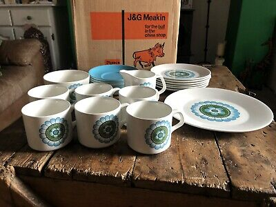 Retro J & G Meakin Studio Capri Teaset Unused 21 Pc Cups Saucers Plates Etc • 54.95£