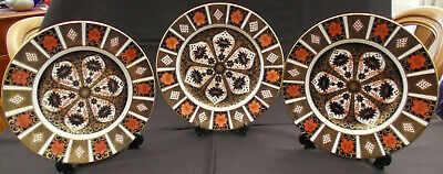 ROYAL CROWN DERBY OLD IMARI 1128 3x DINNER PLATES 1st Quality 10.5  • 330£
