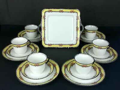 Sutherland China 1920s 6 Cups Saucers Side Plates & Serving Plate Yellow V Rare • 50£