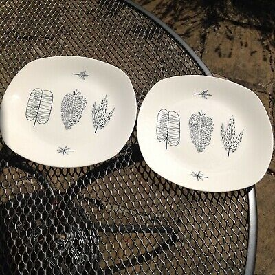 Vintage Midwinter Pottery Pair Of 'nature Study' Plates Conran • 54.99£