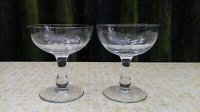 2 Hand Blown Vintage Champagne Coupe Glasses C1940 Engagement Wedding • 24.99£