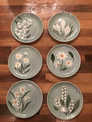 6 Poole Pottery Side Plates With Hand Painted Flowers By Unknown Artist  • 12£