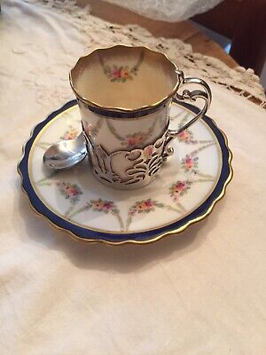 Aynsley Birmingham  Silver Mounted Cup & Saucer Spoon Included • 30£